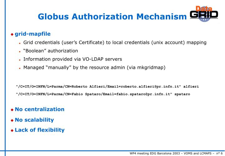 Globus Authorization Mechanism