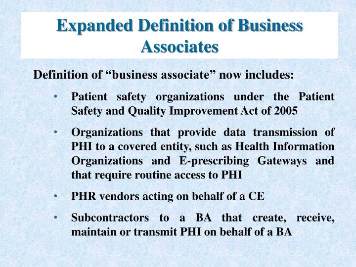 Expanded Definition of Business Associates