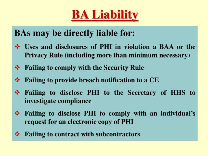 BA Liability
