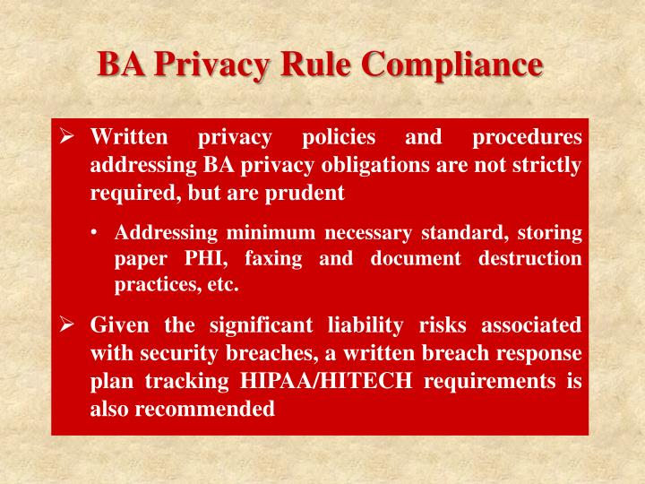 BA Privacy Rule Compliance
