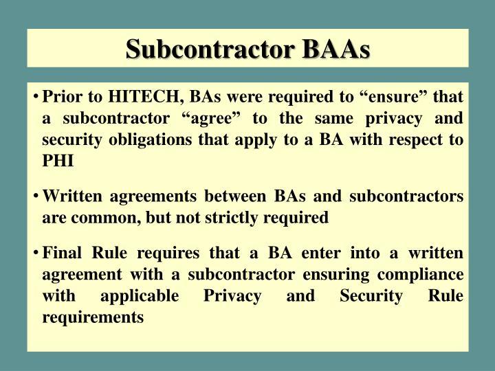 Subcontractor BAAs