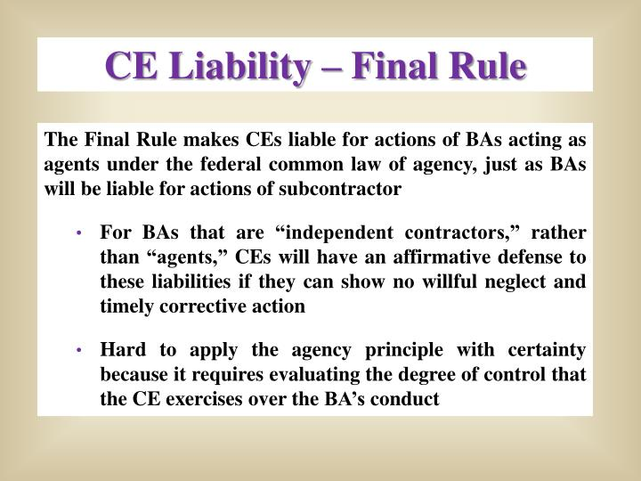 CE Liability – Final Rule