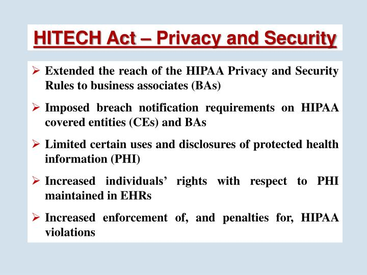 HITECH Act – Privacy and Security