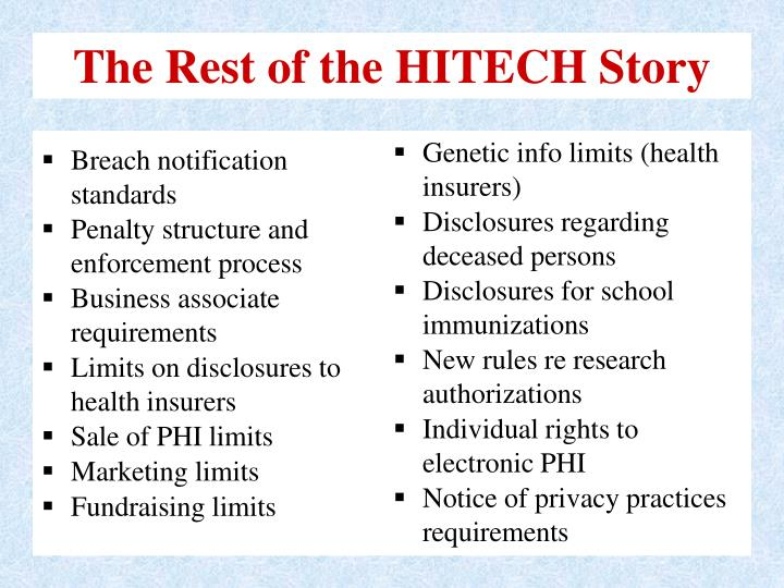 The Rest of the HITECH Story