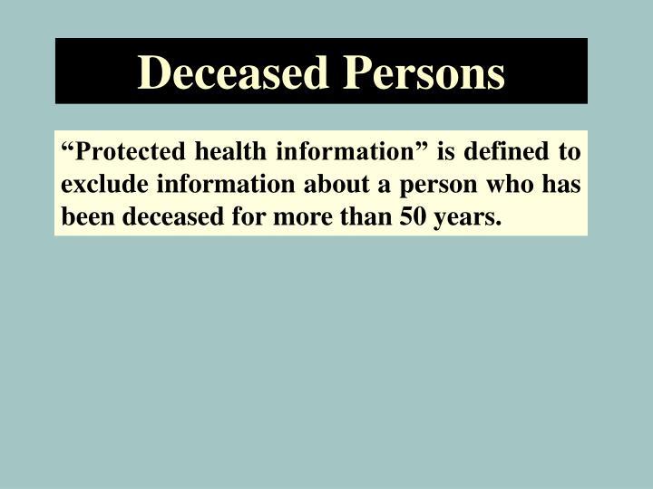 Deceased Persons