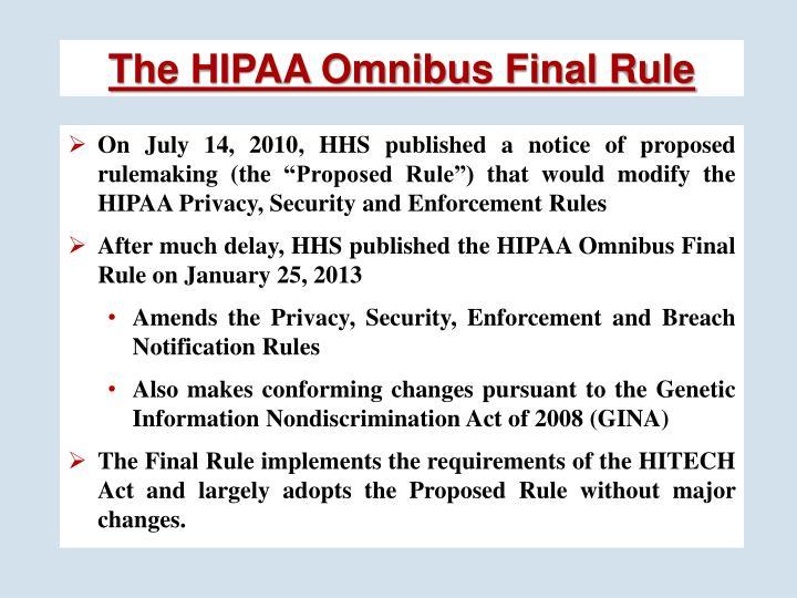 The HIPAA Omnibus Final Rule