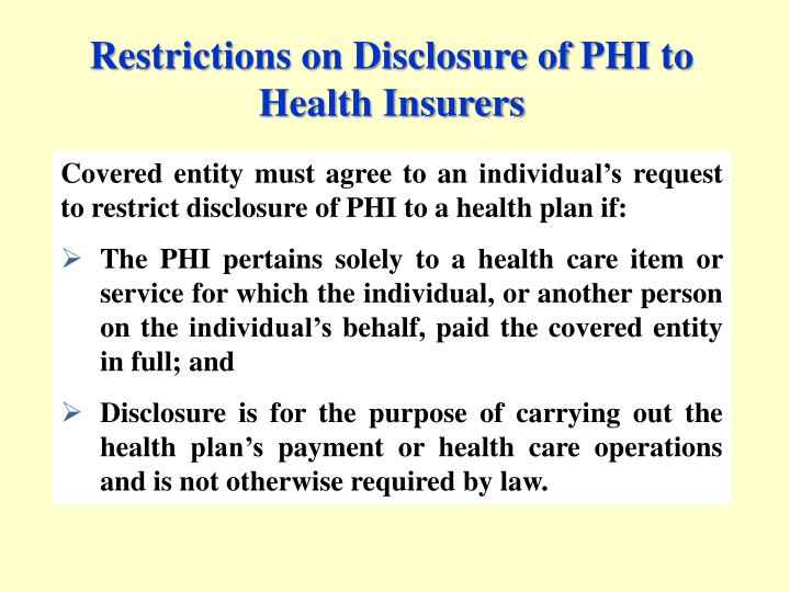 Restrictions on Disclosure of PHI to Health Insurers