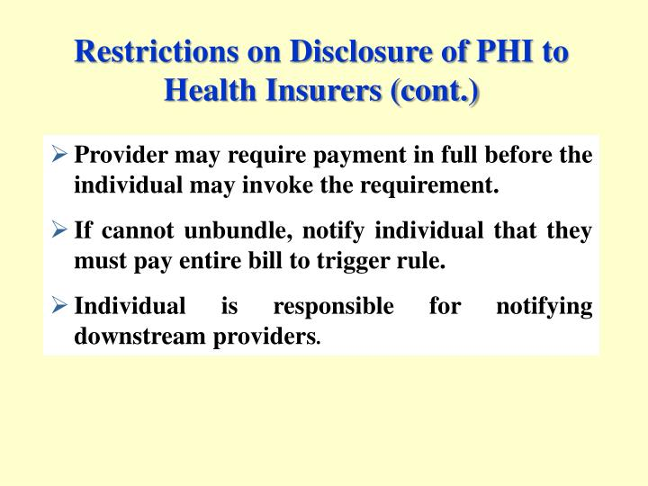 Restrictions on Disclosure of PHI to Health Insurers (cont.)