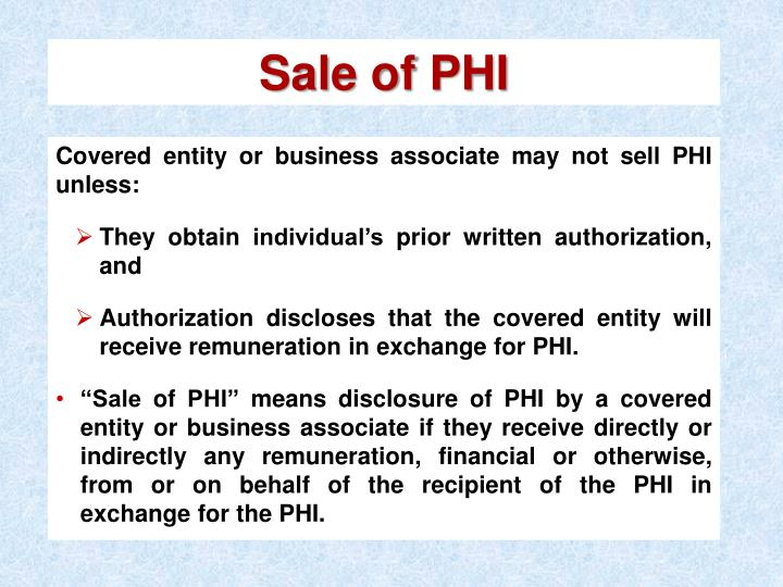 Sale of PHI