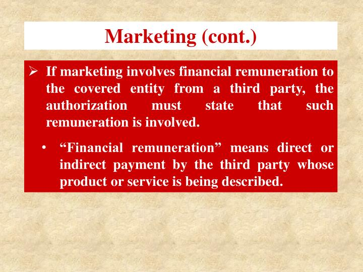 Marketing (cont.)