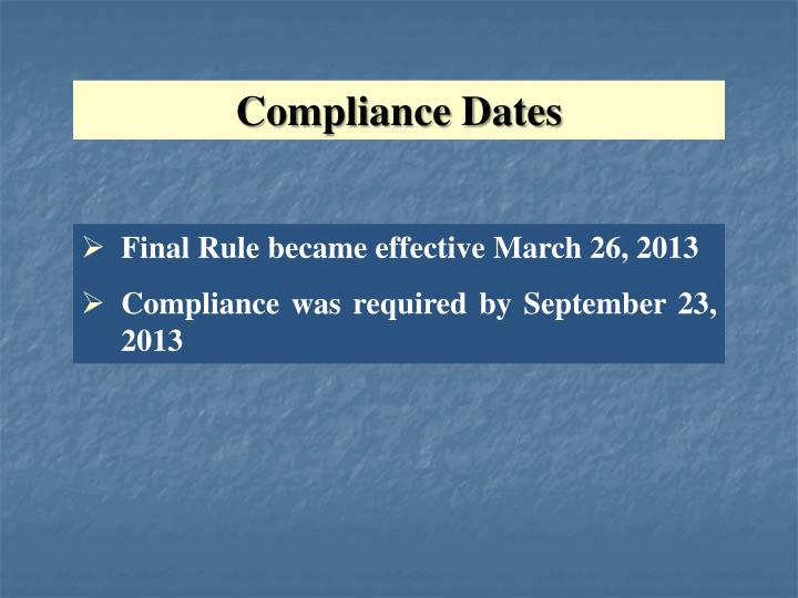 Compliance Dates