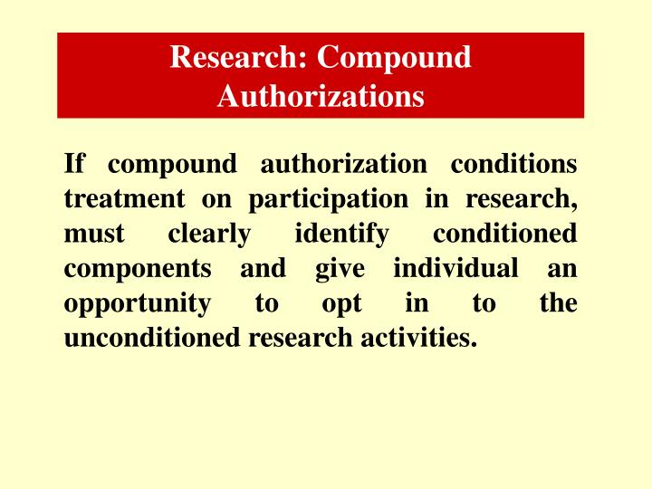 Research: Compound Authorizations