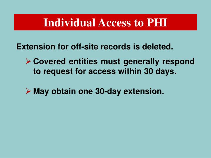 Individual Access to PHI
