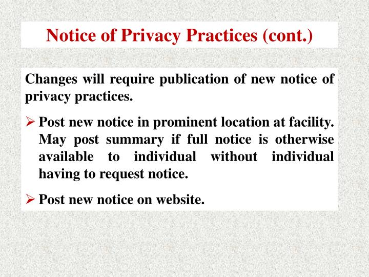 Notice of Privacy Practices (cont.)