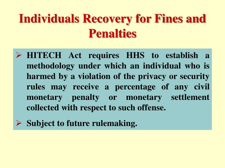 Individuals Recovery for Fines and Penalties