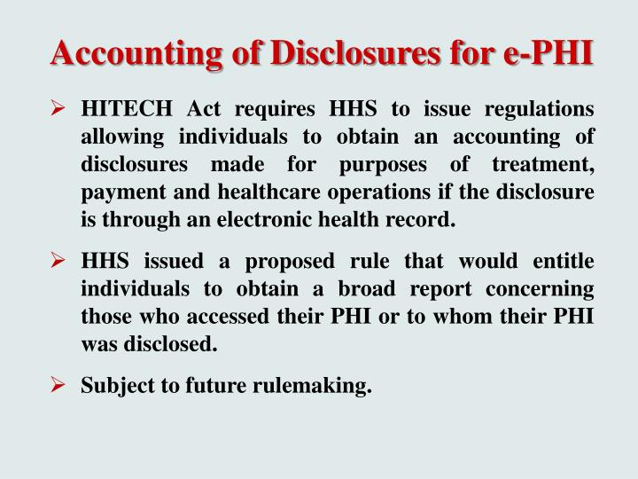 Accounting of Disclosures for e-PHI