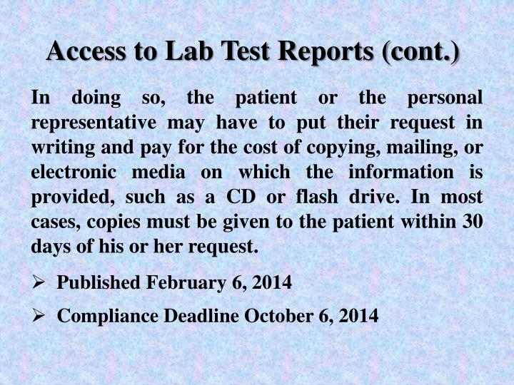 Access to Lab Test Reports (cont.)