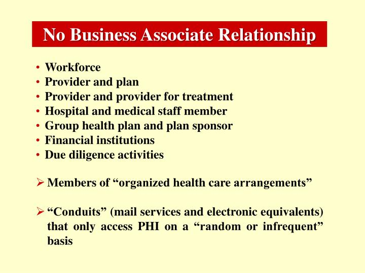 No Business Associate Relationship