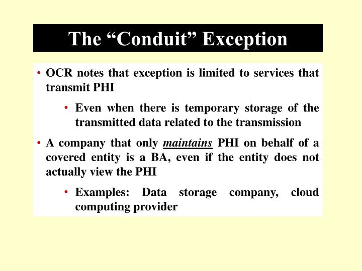 "The ""Conduit"" Exception"