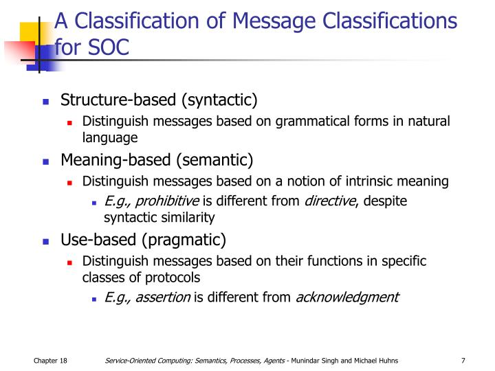 A Classification of Message Classifications for SOC