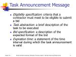 task announcement message