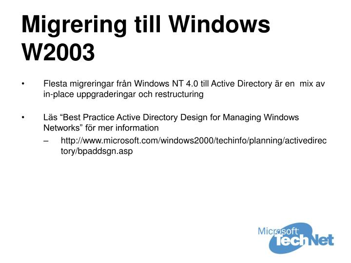 Migrering till Windows W2003