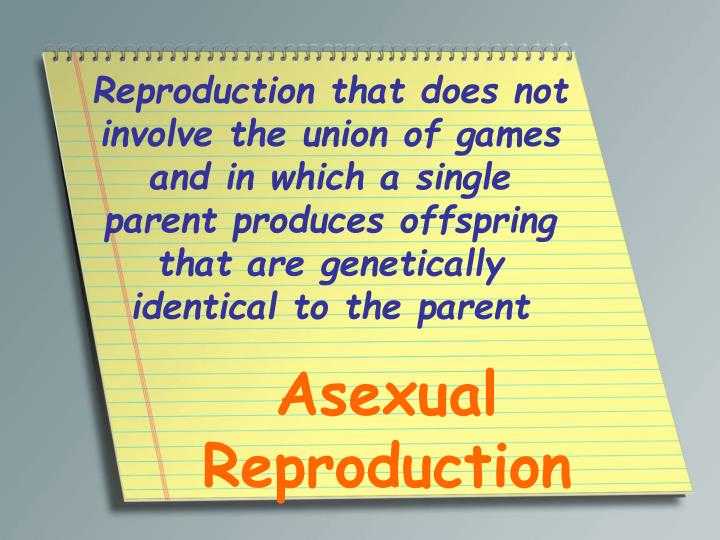 Reproduction that does not involve the union of games and in which a single parent produces offspring that are genetically identical to the parent