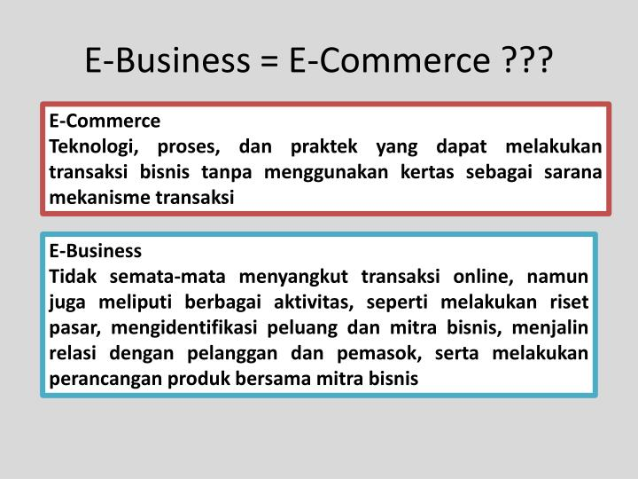 E-Business = E-Commerce ???