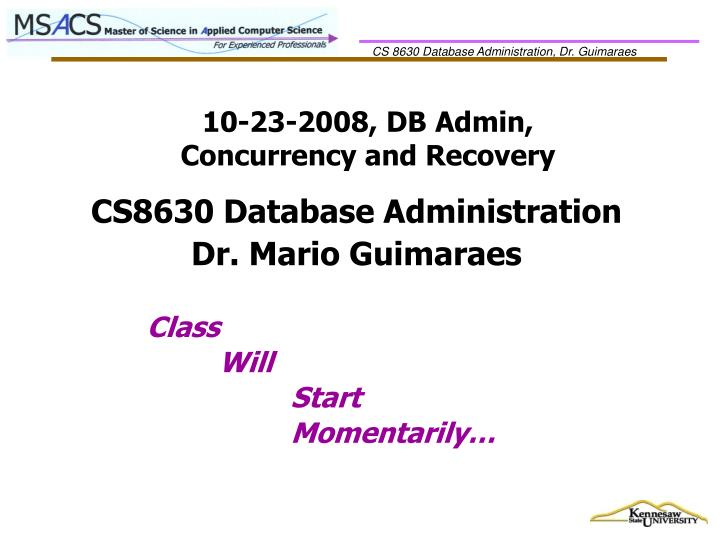 10 23 2008 db admin concurrency and recovery