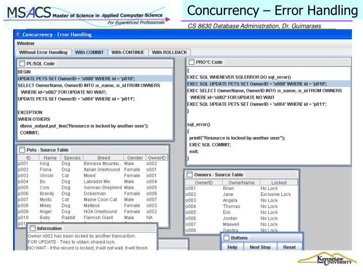 Concurrency – Error Handling
