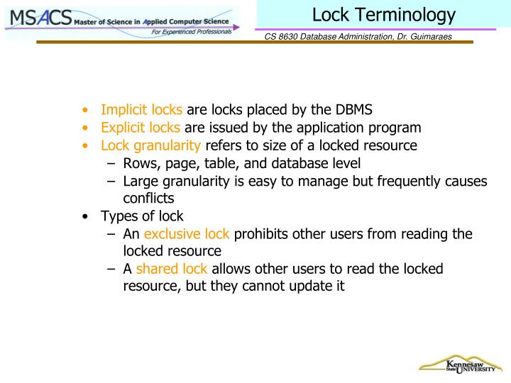 Lock Terminology