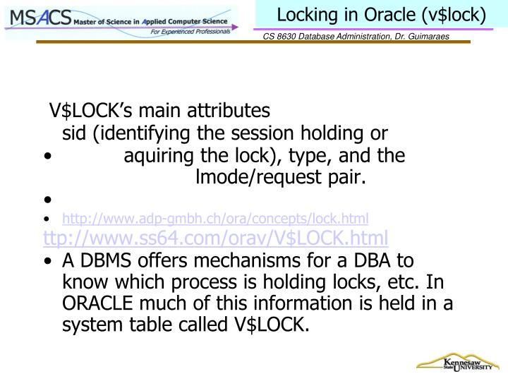 Locking in Oracle (v$lock)