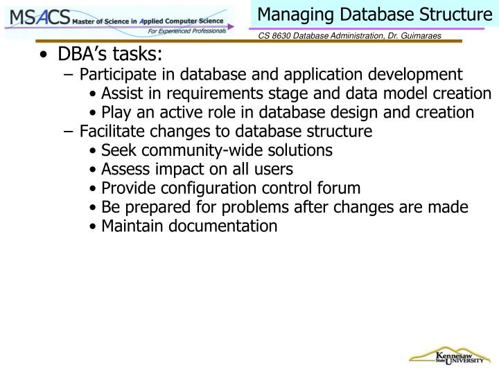 Managing Database Structure