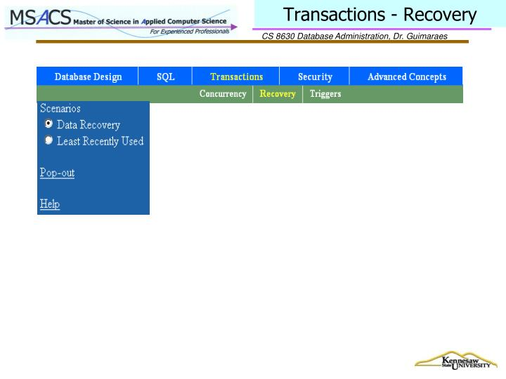 Transactions - Recovery