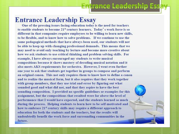 Entrance Leadership Essay
