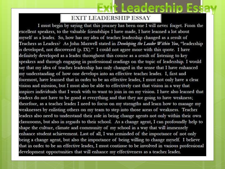 Exit Leadership Essay