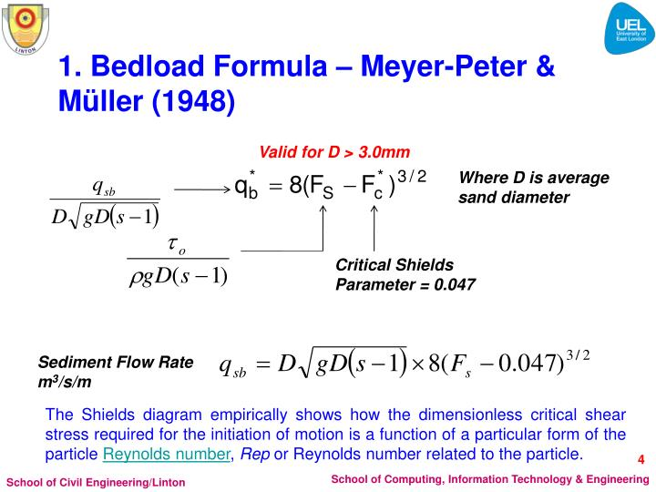 1. Bedload Formula – Meyer-Peter & Müller (1948)