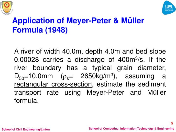 Application of Meyer-Peter & Müller Formula (1948)