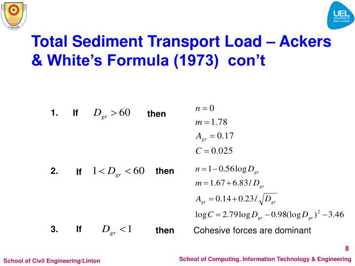 Total Sediment Transport Load – Ackers & White's Formula (1973)  con't