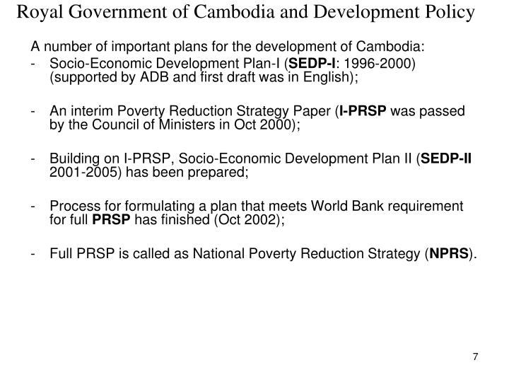 Royal Government of Cambodia and Development