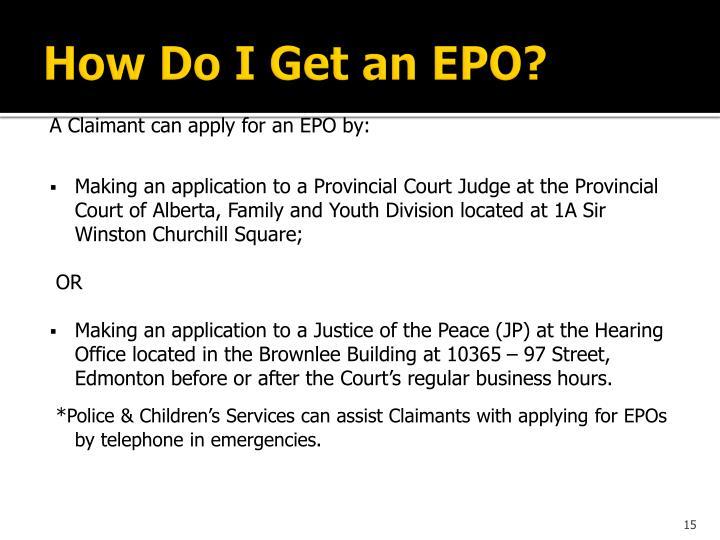 How Do I Get an EPO?