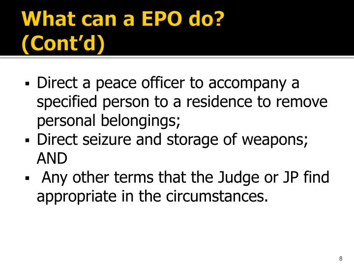 What can a EPO do?