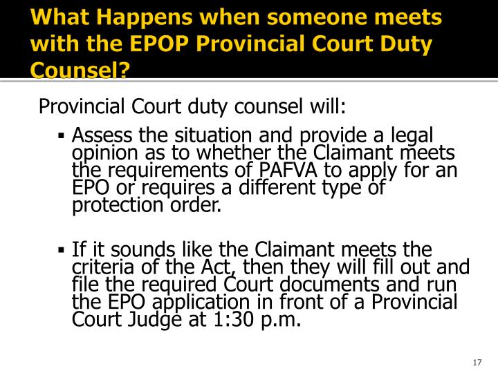 What Happens when someone meets with the EPOP Provincial Court Duty Counsel?