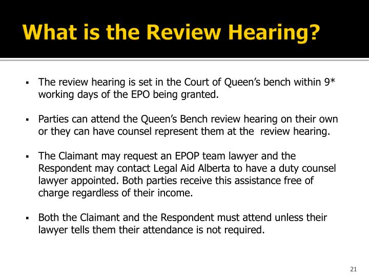 What is the Review Hearing?