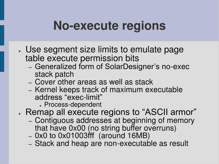 No-execute regions