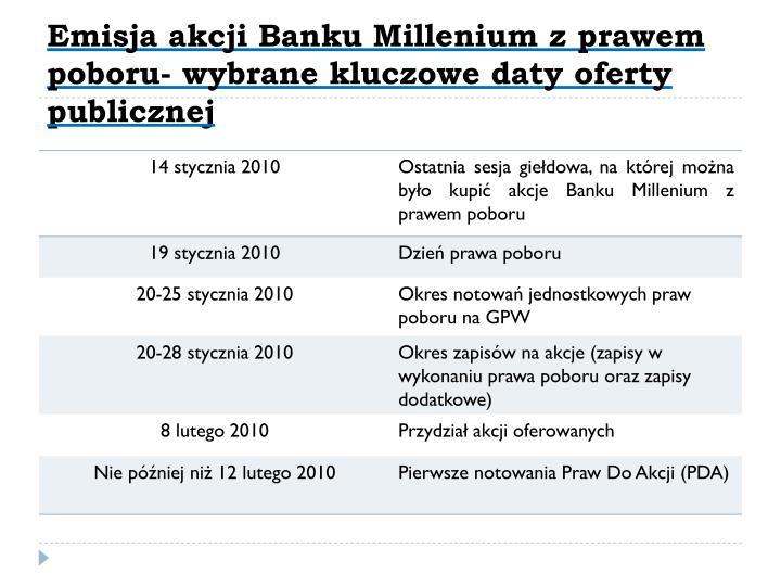 Emisja akcji Banku Millenium z prawem poboru- wybrane kluczowe daty oferty publicznej