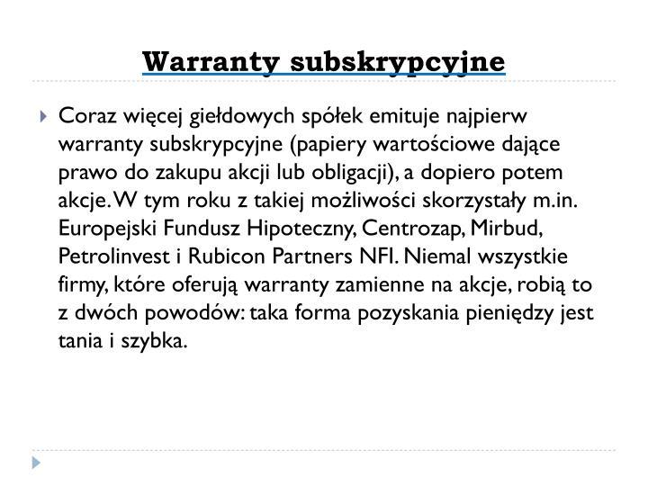 Warranty subskrypcyjne