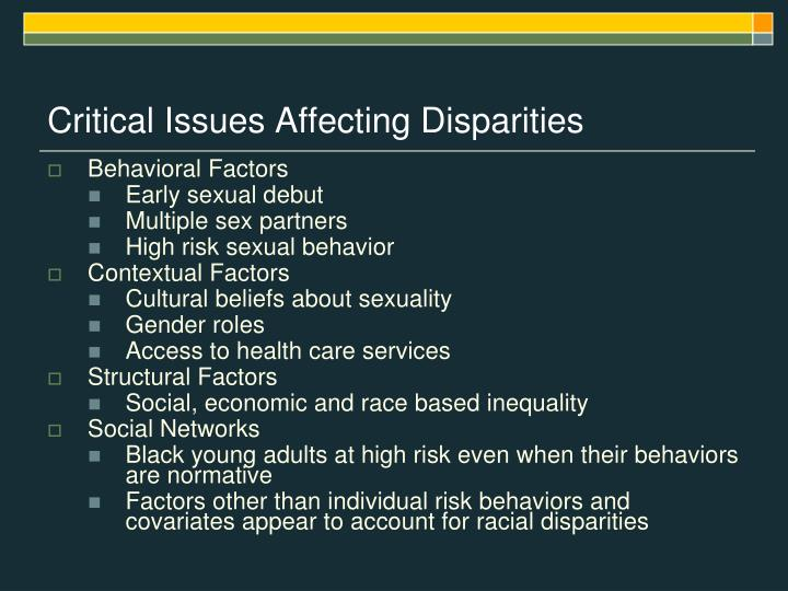 Critical Issues Affecting Disparities