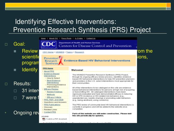 Identifying Effective Interventions: