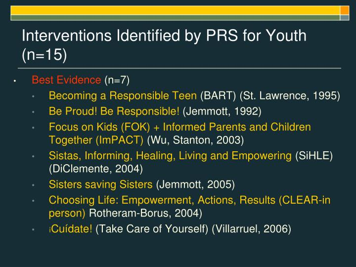 Interventions Identified by PRS for Youth (n=15)